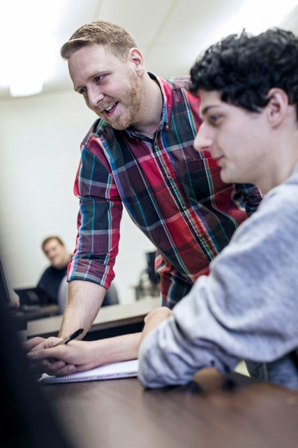 A student receiving instructions on a computer based course at WVU Potomac State College