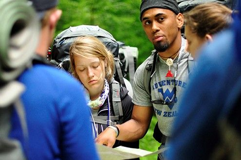 Students navigating on an Adventure WVU trip