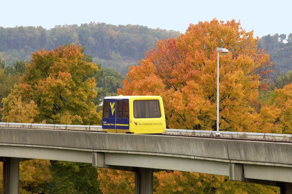 PRT on the move with trees in the background