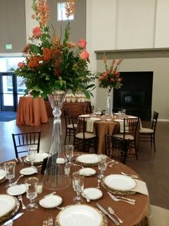 table with large flower centerpiece