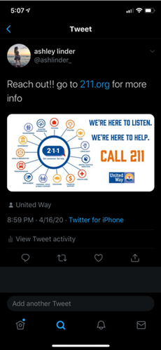 PSA member tweets about 211 initiative