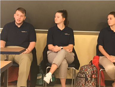 Ryan Maiden, Emma Blair, and Morgan Glass answer questions of  students enrolled in the WVUe191 First Year Seminar class.