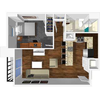 1 bedroom 1 bath floor plan of university park