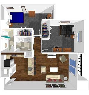 2 bedroom 1 bath floor plan of university park