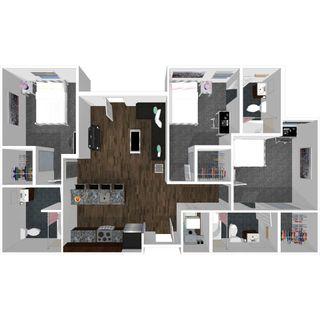 3 bedroom 3 bath floor plan of college park