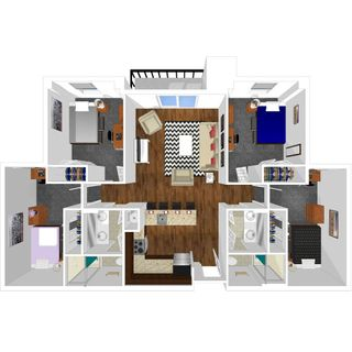 4 bedroom 2 bath floor plan of university park