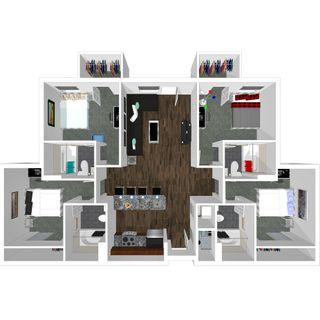 4 bedroom 4 bath floor plan of college park