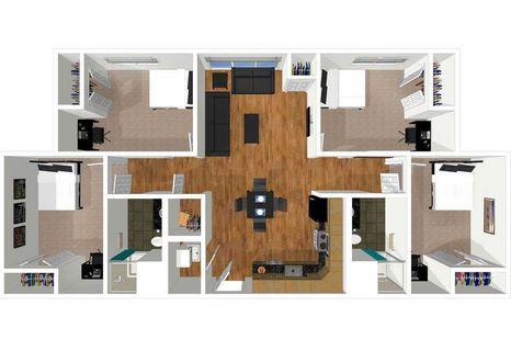 4 bedroom 2 bath floor plan of university place