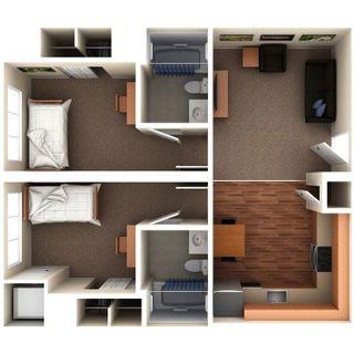 2 bedroom 2 bath floor plan of Vandalia