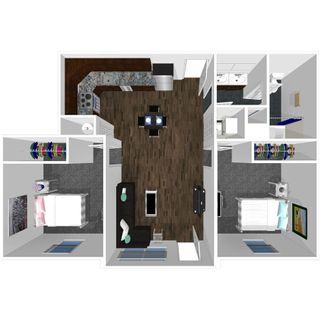 2 bedroom 1 bath floor plan of college park