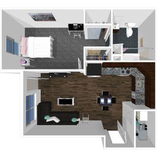 1 bedroom 1 bath floor plan of college park