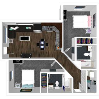 2 bedroom 2 bath floor plan of college park