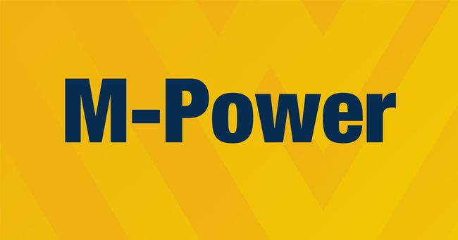 "Gold background with Blue words: ""M-Power"""