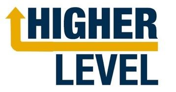 The word Higher above the word Level, with an arrow dividing the two words and then pointing upward.