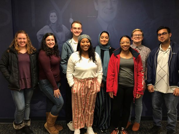 WVU Diversity Ambassadors (pictured left to right): Emily Donley, Lauren Florio, Levi Smith, Caitlin Fulp, Hana Elbarrawy, Tracey Picou, Colton Nichols, Sudhanshu Mishra (Not pictured Liz Denver)