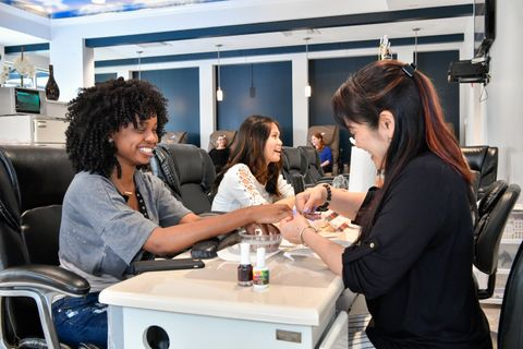 students getting their nails done