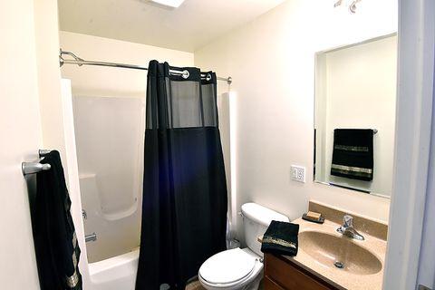 bathroom with blue decoration