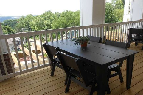 tables on a porch