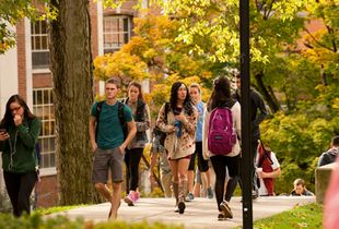 Students walking on the downtown campus.
