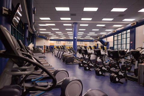 exercise machines in fitness room