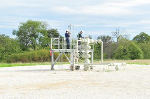 West Virginia University researchers examine natural gas well equipment for potential methane emissions.
