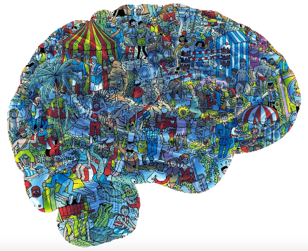 An illustration of a brain with people in it.