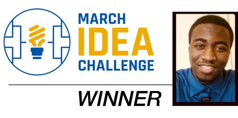 Logo for March IDEA Challenge and photo of winner Albert Nunez