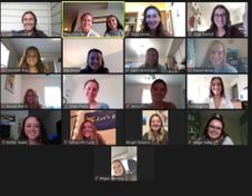 photo of Society of Women Engineers leadership through a Zoom meeting.
