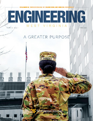 Spring 2020 Engineering WV Magazine - Woman in uniform salutes flag outside of ESB tower