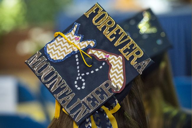 A graduation cap that says forever a Mountaineer