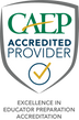 Badge stating CAEP accredited provider